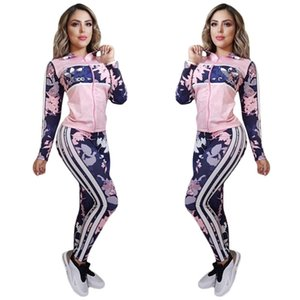 Mulheres Designer Marca Jacket Two Piece Set Sweatsuit Long Sleeve Cardigan + Legging Jogging Suit S-2XL Capris Treino Sping Outfits DHL 2779