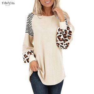 Leopard Womens elegante camiseta Top Blusas longa Lanterna Sleeve Stripe retalhos Casual Colorblock luva Lantern roupa blusas camisas