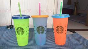 Starbucks 24oz Renk Tumblers Değişen Sihirli Plastik Kapaklı ve samanlı bardak içmek Şeker renkler sihirli kahve kupa Özel logo!