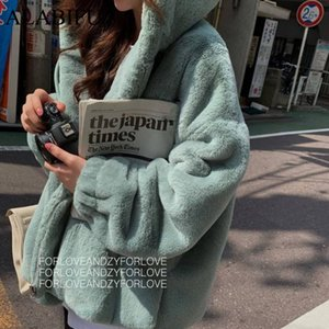 ALABIFU 2019 Fashion Faux-Pelz-Mantel-Winter-Frauen beiläufige mit Kapuze dünne lange Hülsen-Pelz-Winter-Jacke Frauen casaco feminino
