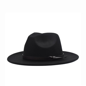 Fall   Winter 2020 Korean version of the flat woolen hat, belt, big eaves felt hat, plain weave hat, Europe and America