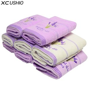 XC USHIO 5pcs / set 100% coton 34 * 75cm lavande visage serviette serviette à la main amoureux de la débarbouillette cadeau Toalla De Cara Facies Linteum