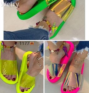 2019 femmes bling été pantoufle nouvelles dames bout ouvert slip Confort des sandales plates Loisirs Femme en plein air chaussures de plage Zapatillas