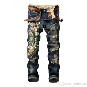 Fashion Ripped Embroidered Jeans Hole Motorcycle Trousers Blue Slim Fit Denim Pants Torn Stylish Youth Streetwear for Men
