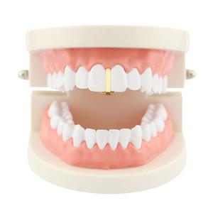Homens e mulheres moda new hip hop Dental Grills jóias tira vertical forma de ouro chaves único dente presente da jóia do Dia Das Bruxas para rap rapper