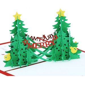 3D Pop Up Christmas Tree Greeting Cards merry christmas Party Invitations Paper Gift Postcards Free Shipping