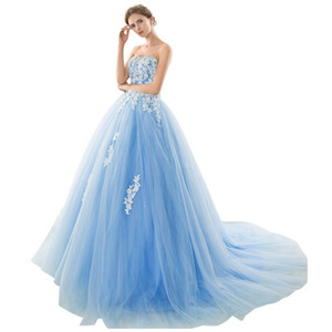 Tulle Ball Gown Prom Dresses with White Lace Applique Rhinestone Crystal Beaded Sweet 16 Dresses Formal vestidos de Quinceanera Gown