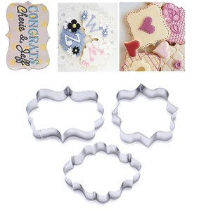 1 Seti (3 adet) Şeker kalıp 3PCS Plak Kesici Tanımlama Çerçeve DIY Kek Oval kare Dikdörtgen Fantezi Paslanmaz çerez Kalıp bisküvi