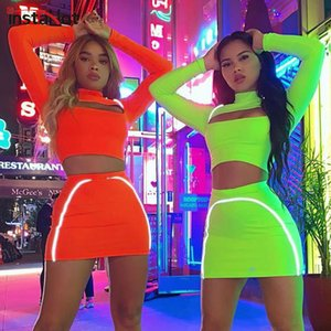 InstaHot oco Out Mulheres Two Piece Set manga comprida Splice reflexiva do Flash Top Curto e saia Treino Outono StreeWear Nova