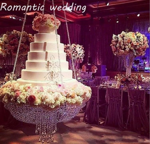 Cristal de luxe pendaison gâteau support de gâteau de mariage stand cristal transparent perles acrylique stand de mariage table pièce maîtresse