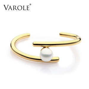 Varole Simple Line Pearl Cuff Bracelets & Bangles Open Gold Color Love Bangle Bracelets For Women Jewelry Pulseira Feminina Y19051101