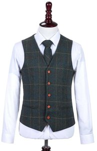 2020 British Wedding Tweed Wool Herringbone Groomsmen Wedding Vest Custom Made Mens Suit Vest Tuxedo Waistcoat