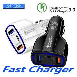 QC3. 0 Double USB Ports Chargeur De Voiture Rapide De Charge Mobile Téléphone Double USB Rapide Chargeur 7A Pour Samsung S10 pour 7 8 Plus X XS MAx