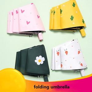 Yağmur Dişli 3 Katlama Işık ve Dayanıklı Şemsiye Işık Şemsiye Güneş Yağmur UV Koruma Şemsiyeler