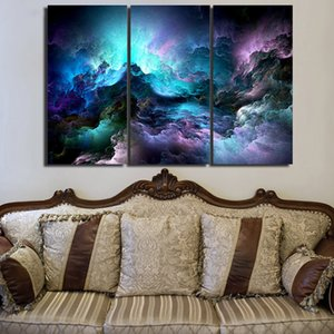 3 piece canvas art abstract psychedelic nebula space Painting decor panel paintings