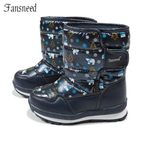 Fansneed Niños Botas para la nieve Niñas Lana pura Botas de invierno cálido Impermeable Zapatos de cuero con estampado lindo Cálido -30 grados Invierno Y18110304