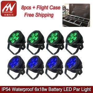 8pcs waterpprof a mené la lumière Par batterie fonctionnant 6 * 18w RGBWAUV sans fil Rechargable Wash Light Uplight pour djs