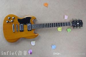 libero di buona suono all'ingrosso su ordinazione di mogano di alta qualità della chitarra della mano sinistra di legno di colore elettrico