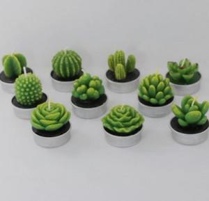 Decoración fiesta de cumpleaños 6pcs plantas suculentas Cactus del molde DIY del aroma de Yeso de silicona Vela Moldes Inicio de boda