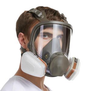 Maske 6800 7 in 1 6001 Gaz Maskesi Asit Toz Solunum Boya Pestisit Sprey Silikon Filtre Laboratuvar Kartuş Kaynağı