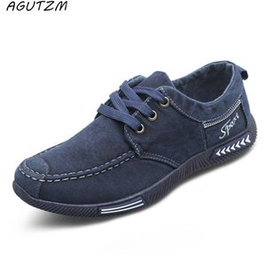 AGUTZM Tuval Erkekler Denim Dantel-up Erkekler Casual Ayakkabı Yeni 2017 plimsolls Nefes Erkek Ayakkabı İlkbahar Sonbahar Ayakkabı
