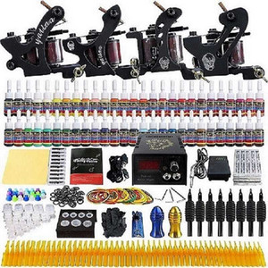Tattoo Kit Professionnel 4 Tatto Machines 10 Gun Bobine d'alimentation Pédale d'encre AIGUILLE Grip Accessoires Set Tatoo Artists