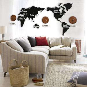 Großhandel 1 Satz Große DIY 3D Holz Digitale Wanduhr mit Weltkarte Mute Round World Clock Karte