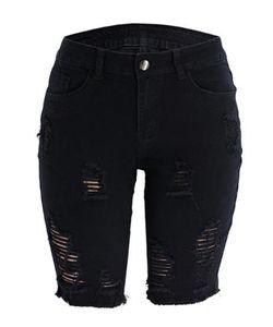Womens Doce Cor Jeans Moda Rasgado Buraco painéis Jeans Casual cintura alta joelho Jeans Biker Shorts Mulheres