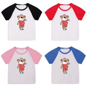 Bambini Cartoon Bear T Shirt Bambino Estate Maniche corte Maniche corte Ragazzi Tshirt Bear Stampa Collo Round Cotton Top Bambini Designer Vestiti Boys
