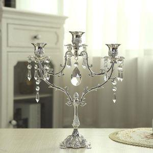 Kristall-Leuchter Wedding Table Centerpiece Candelabra Abendessen Dekor Luxurious Romantic Candlelight 35 Lichter Silber Kerzenhalter