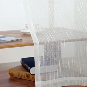 Weiß All- Linen Stripe Window Screens Gardinen für Wohnzimmer Tulle Moderne Voile für Schlafzimmer Balkon Yarn Dekor