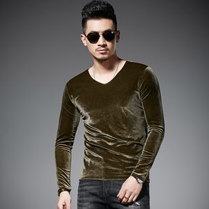 V Shape Solid Velvet Tshirt Men Long Sleeve Spring Autumn Tshirt Homme 3 Color Velour Luxury T Shirt Men 5xl T200528