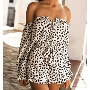 New Arrival Womens Off Shoulder Leopard Print Playsuits Vogue Female Long Sleeve Ruffled Lace Up Belt Playsuit Romper Trousers