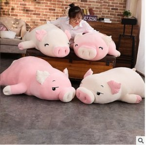Squishy Pig Stuffed Doll Lying Plush Piggy Toy White Pink Animals Soft Plushie Hand Warmer Blanket Kids Comforting Gift Y200703