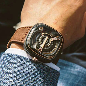 Мужской кожа ремень Top Brand Wristwatches Luxury мальчик Студенты Кварц подарки Часы площадь набор конструктора из нержавеющей стали Назад Часов для Парней