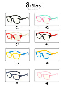 New fashion children's anti-blue light glasses men and women flat mirror silicone goggles soft frame F8140 100pcs