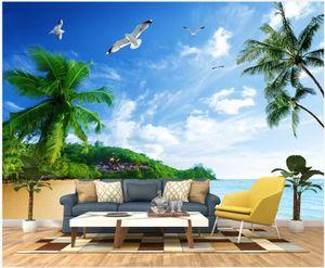 3d room wallpaper custom photo Seaside coconut tree seagull beach scenery living room home decor 3d wall murals wallpaper for walls 3 d