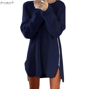 Fashion Women Long Sleeve Autumn Knitted Zippers Side Jumper Sweater Dress Loose Tunic Baggy Dresses Ho931626