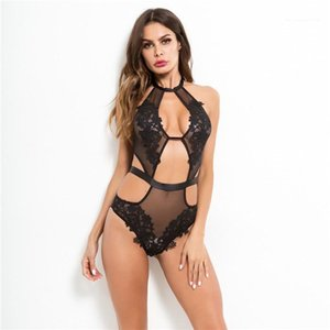Breast Underwears Females Slim Embroider Flowers SexySets Ladies Sexy Blaeck Lace Jumpsuits Womens See Though Exposed