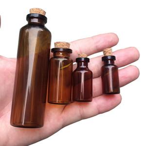2 ml 5 ml Mantar ile 10 ml 50 ml Amber Cam Şişeler Boş Küçük Kahverengi Tiny Cam Kavanoz Mini Cam Şişeler Şişeler Kavanoz Konteynerler 100 adet