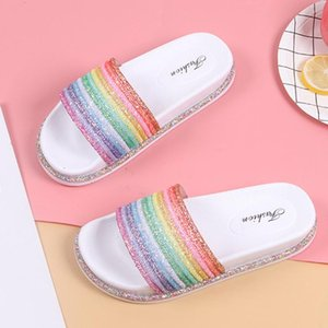 YOUYEDIAN Slippers Women Shoes 2020 Fashion Outdoor Rainbow Platform-bottom Casual Beach Anti-slip Slippers Chanclas Mujer