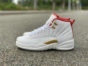 Новый Эксклюзивный 12 Белый Университет Красный Металлик Золото Человек Баскетбол Дизайнерская Обувь Лучшее Качество Корабль С Коробкой
