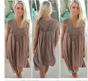 Boho estilo mujeres vestido de encaje verano suelto Casual playa Mini Swing vestido de gasa Bikini Cover Up ropa de mujer vestido de sol