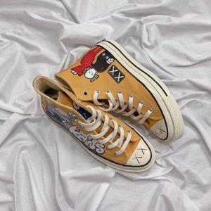 2019 vulcanizada New Style mandris alta All Stars X Kaws Yellow Canvas Shoes Casual Top Quality Homens Mulheres Moda Designer Sneakers Tamanho 35-44