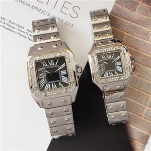 Yeni Moda Günlük Yapay elmas Paslanmaz Çelik Erkek Saat Kuvars Elbise Kadın İzle Kare Su geçirmez Erkekler Mens saatler reloj de pulsera