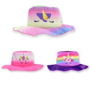Bambini Unicorn secchio cappello moda Cartoon Girl viaggio cappello da spiaggia per bambini Carino Festival Party Hat Outdoor Sport Sun Cap TTA1355
