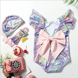 bébé enfants coloré poisson balance sirène 3pcs maillot de bain grand arc rose bandeau + chapeau + costume maillot de bain filles volants manches maillot de bain