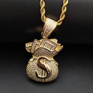 Banhado a ouro para fora congelado CZ Cubic Zirconia Mens USD Saco do dinheiro cadeia colar de pingente personalizado de diamante cheio de Hip Hop Jóias Presentes para Homens