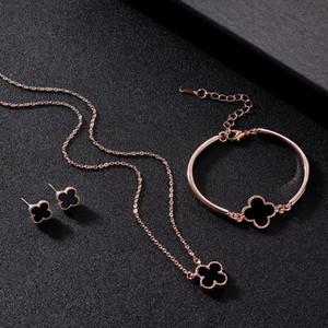 18K Rose banhado a ouro trevo de quatro folhas pulseira colar jóias conjunto para mulheres elegantes noivas conjuntos de jóias de casamento de luxo 3pcs / set