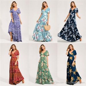 Summer Maxi Dresses Short Floral Print Beach Holidday Designer Sexy Style Female Clothing V Neck Womens